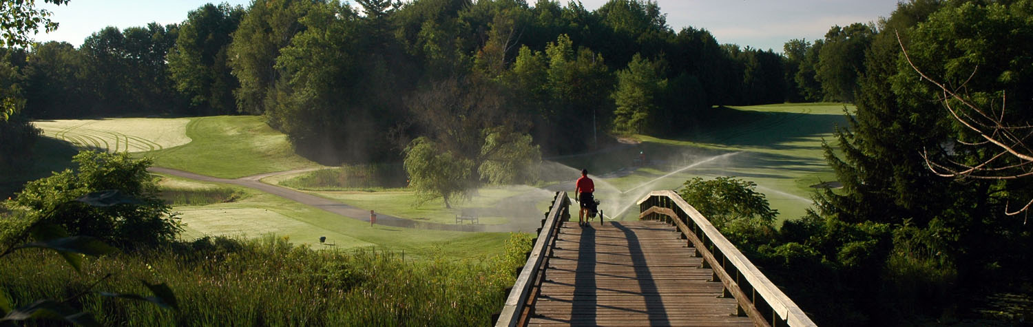 A golfer on a bridge in the morning